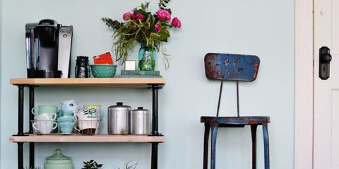 Serveware, Shelving, Teal, Turquoise, Still life photography, Dishware, Stool, Vase, Bottle, Flower Arranging,