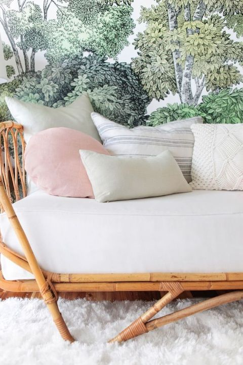 Brown, White, Couch, Beige, Natural material, Snow, Peach, Living room, Outdoor furniture, Throw pillow,