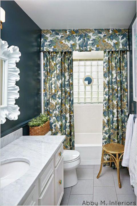 Blue, Plumbing fixture, Interior design, Room, Floor, Architecture, Flooring, Bathroom sink, Property, Tile,