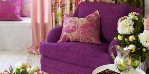 Purple, Room, Interior design, Living room, Serveware, Pink, Furniture, Interior design, Magenta, Violet,