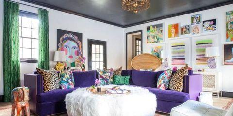 Room, Interior design, Textile, Purple, Furniture, Home, Wall, Ceiling, Interior design, Lavender,