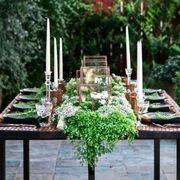 Table, Flowerpot, Interior design, Candle, Outdoor table, Herb, Garden, Annual plant, Houseplant, Vascular plant,