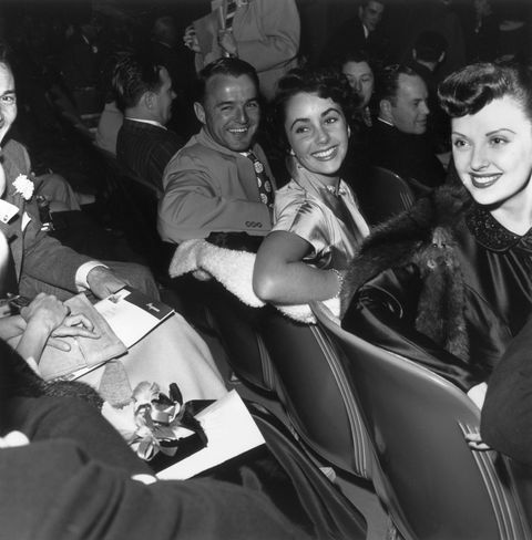 <p>At a movie premiere with boyfriend, football star Glenn Davis, in 1945. </p>