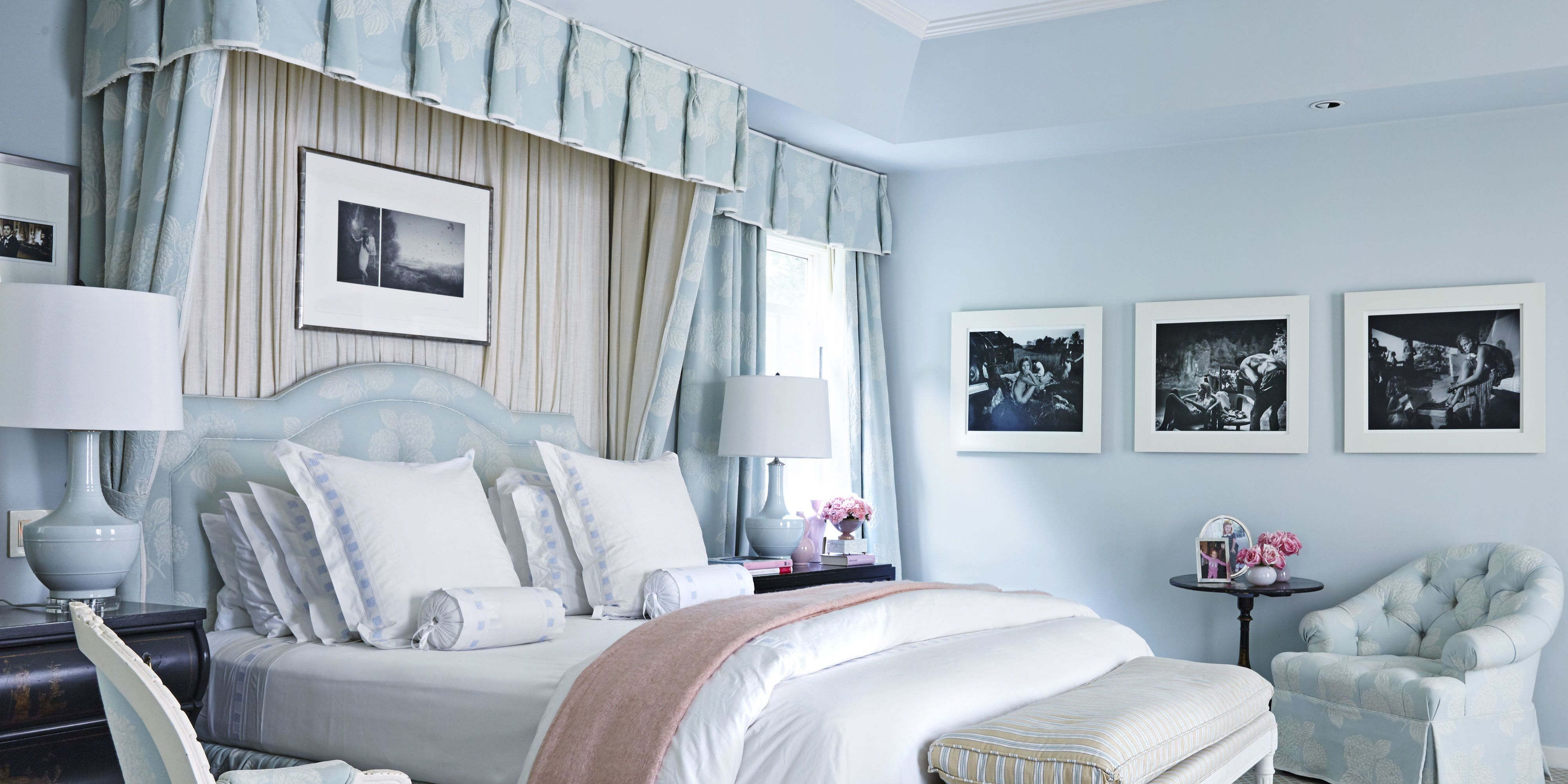 U003cpu003eThe Master Bedroom Is Enveloped In A Soothing Sky Blue. Bedding.  Victoria Pearson. In The Hands Of Dynamic Designer Mary McDonald ...