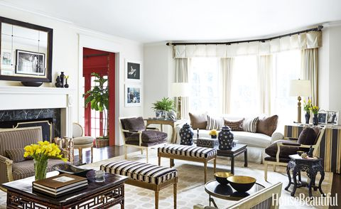 "<p>A welcoming mix of vintage and antique furniture adds elegance to a light-flooded Beverly Hills living room <a href=""http://www.housebeautiful.com/home-remodeling/interior-designers/q-and-a/a5633/mary-mcdonald-interview"" target=""_blank"">designed by Mary McDonald</a>. Leopold lamps by Mary McDonald for Robert Abbey. Walls in Benjamin Moore's Man on the Moon.</p>"