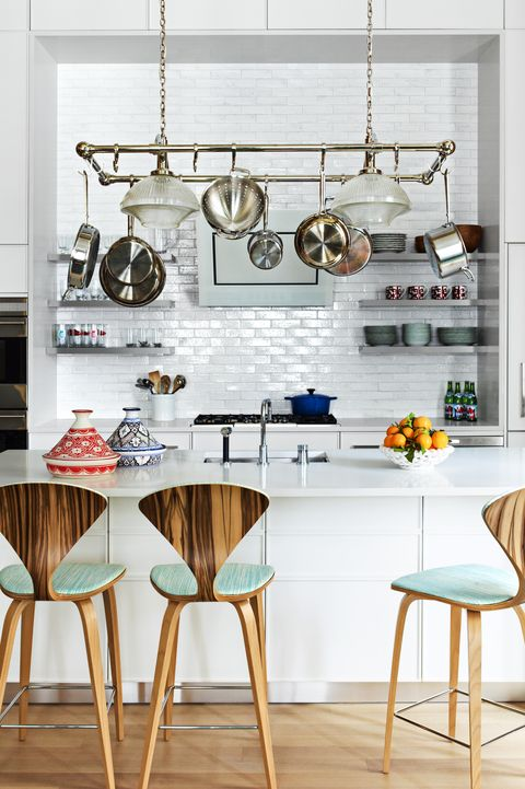 Designer Katie Ridder Installed Open Shelves And Urban Archaeology S Pot Rack In The Existing Kitchen