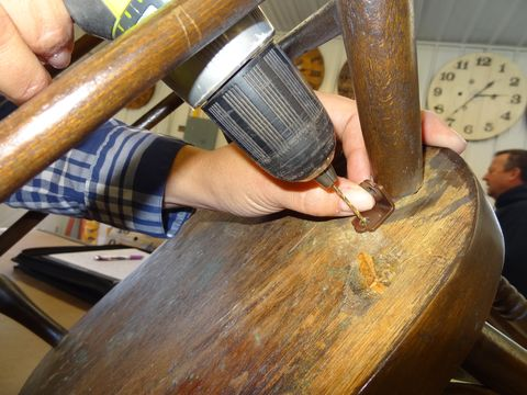 """<p>Few things are more unnerving than sitting on a wobbly chair. If gluing loose rungs and tightening the hardware doesn't work, then add right-angle corner braces. You can buy the braces at hardware and home improvement stores for just a couple bucks for a four pack. Make sure to buy the paintable kind if you want to paint the braces to match the chair.</p><p>""""Add a brace where each leg meets the seat. You may have to bend the brace a little so it's flush against the chair leg—you don't want a gap between the brace and the leg,"""" she says. """"Be sure to drill pilot holes before inserting the screws through the brace. That'll keep the wood from splitting.""""</p>"""