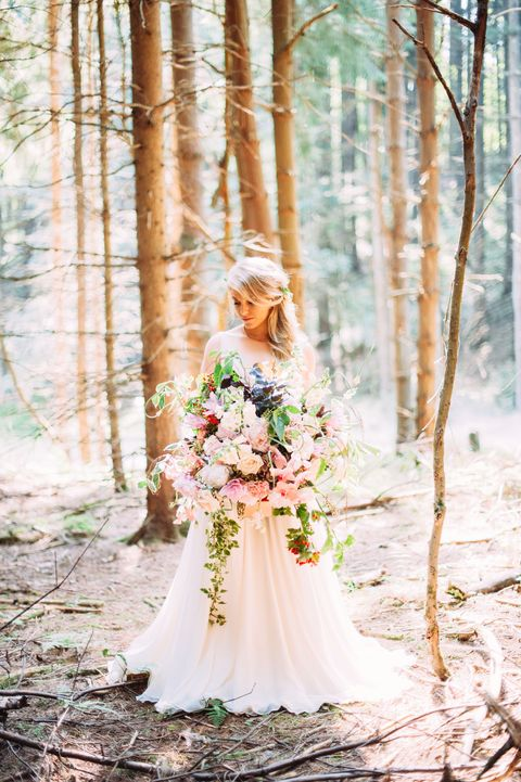Clothing, Dress, Petal, Photograph, Bride, Bridal clothing, Wedding dress, People in nature, Peach, Forest,