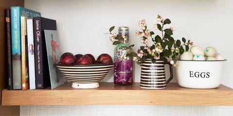 Flowerpot, Flower, Purple, Bookcase, Serveware, Interior design, Lavender, Dishware, Shelving, Publication,