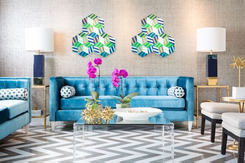 Blue, Room, Interior design, Green, Living room, Wall, Home, Lampshade, Furniture, Floor,