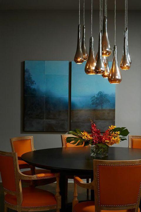 Room, Interior design, Table, Glass, Furniture, Amber, Chair, Orange, Interior design, Hardwood,