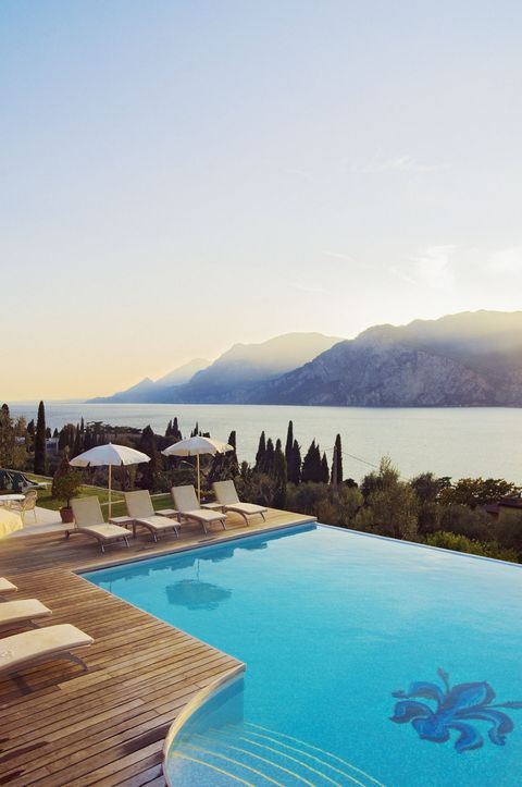 The pool at Hotel Bellevue San Lorenzo on Garda Lake in Italy