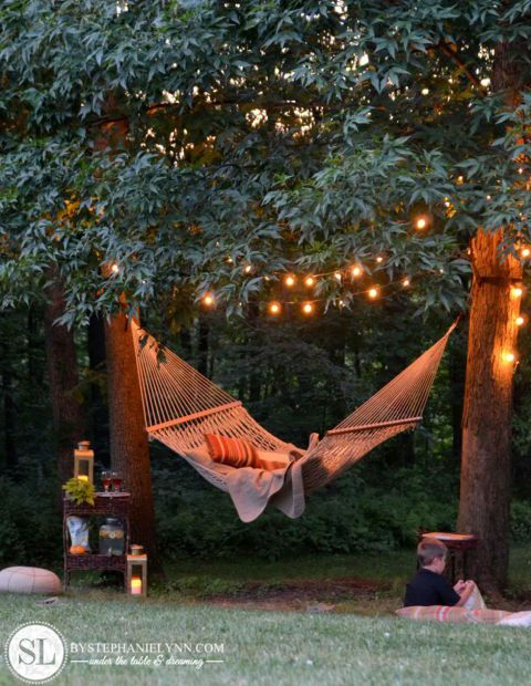 backyard string lights hammock
