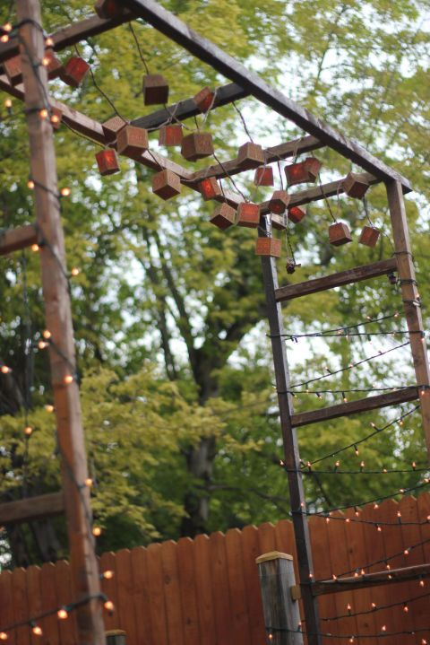 backyard string lights pergola