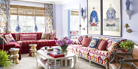 colorful apartment in red blue and purple interior designer mark