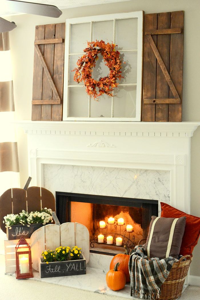 fall pallet projects, mantel display