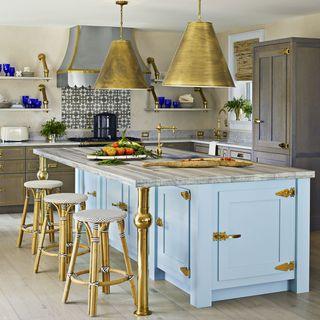 Colleen Bashaw Blue and Brass Kitchen