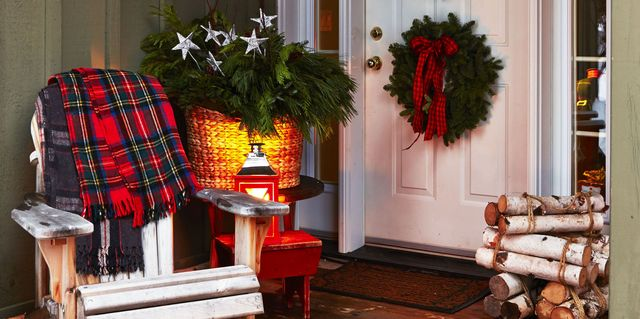 for door potted at porch front christmas tree pre trees lit your