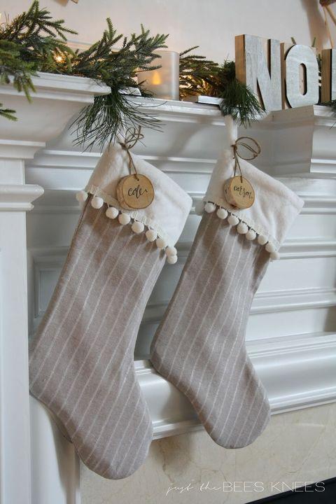 Gray Christmas Stockings.Mermaid Your Mantel