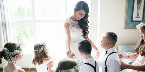 Clothing, Hair, Head, Ear, Hairstyle, Bridal clothing, Dress, Photograph, Happy, Fashion accessory,
