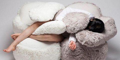 Skin, Fur, Footwear, Textile, Room, Sleep, Stuffed toy, Linens, Dress, Ear,
