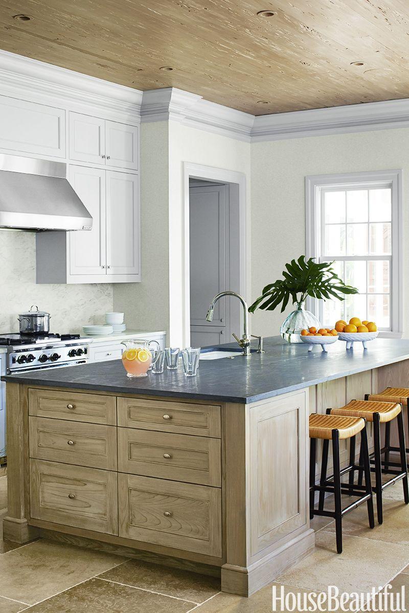 14 best kitchen paint colors ideas for popular kitchen colors rh housebeautiful com gray paint for kitchen island gray paint for kitchen with oak cabinets