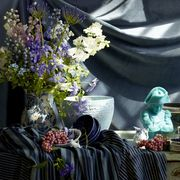 """<p>What is it about blue and white? Ever since <em data-redactor-tag=""""em"""" data-verified=""""redactor"""">House Beautiful</em> began publishing in color, the cyan printing-press plate responsible for the range of vivid blues on our pages has gotten quite the workout. And no wonder: Readers consistently rank blue as their favorite hue and know that, when coupled with white at home, it simply sings. </p><p>The pairing is freshly American, calling to mind white stars on a crisp field of cobalt. And it's the life force of a globe's worth of design classics too, from Ming dynasty vases to Moroccan tiles. At worst, it's simply agreeable. At best, it's universal. And at the very least, it's here to stay. </p><p>In honor of our <a href=""""http://www.housebeautiful.com/design-inspiration/g3852/home-decor-essentials"""" target=""""_blank"""" data-tracking-id=""""recirc-text-link"""">120th anniversary</a>, we asked two of our favorite talents — photographer and textile artist Martyn Thompson and stylist Jeffrey W. Miller — to collaborate on an artful paean to this dynamic color duo. </p><p><em data-redactor-tag=""""em"""" data-verified=""""redactor"""">A wax Napoléon candle by Cire Trudon presides over a table draped with Walter G's striped cotton canvas.</em><em data-redactor-tag=""""em"""" data-verified=""""redactor"""">&nbsp;The backdrop is Clarence House's Milano velvet.</em></p>"""