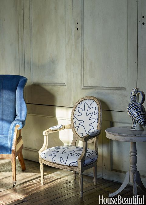 <p>Ralph Lauren Home's Hepplewhite wing chair provides a counterpoint to John Rosselli &amp; Associates' Louis XVI-style armchair, which is covered in Gigi fabric by Bunny Williams for Lee Jofa. The Blue Bird ceramic vase by Alessandro Iudici is from Artemest.</p>