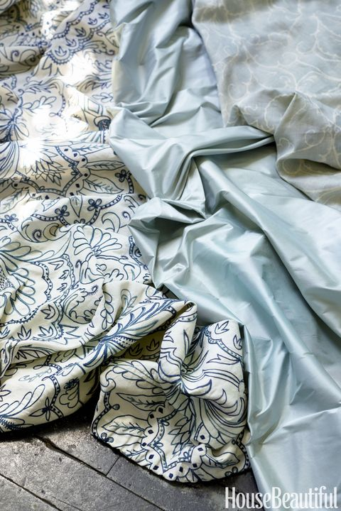 "<p>From left, Acanthus Leaf Crewelwork by Chelsea Textiles,&nbsp;Douppioni silk by Fabricut and&nbsp;Torcello hemp by Kerry Joyce.<span class=""redactor-invisible-space"" data-verified=""redactor"" data-redactor-tag=""span"" data-redactor-class=""redactor-invisible-space""></span></p>"
