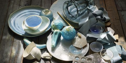 """<p>A broken teacup and saucer by Gien (bottom left) would make any dinner host feel blue. A tray with paint samples includes (clockwise from top left): Sherwin-Williams's Aviary Blue, Farrow &amp; Ball's Borrowed Light, Behr's Paris and Benjamin Moore's White Dove.<span class=""""redactor-invisible-space"""" style=""""background-color: initial;"""" rel=""""background-color: initial;"""" data-verified=""""redactor"""" data-redactor-tag=""""span"""" data-redactor-style=""""background-color: initial;""""></span> </p><p><em data-redactor-tag=""""em"""">See something here you like? Check out our <em data-redactor-tag=""""em""""><em data-redactor-tag=""""em""""><a href=""""http://www.housebeautiful.com/shopping/a7243/november-2016-resources/"""" target=""""_blank"""">shopping guide</a> </em></em>for where to find it.</em> </p><p><span class=""""redactor-invisible-space"""" data-verified=""""redactor"""" data-redactor-tag=""""span"""" data-redactor-class=""""redactor-invisible-space""""><em data-redactor-tag=""""em"""">This article originally appeared in the November 2016 issue of </em>House Beautiful.</span></p>"""