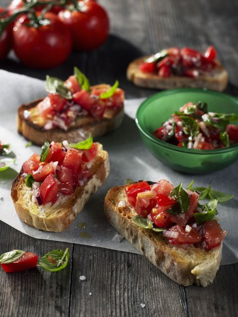 Food, Finger food, Bruschetta, Ingredient, Cuisine, Produce, Dish, Baked goods, appetizer, Tableware,