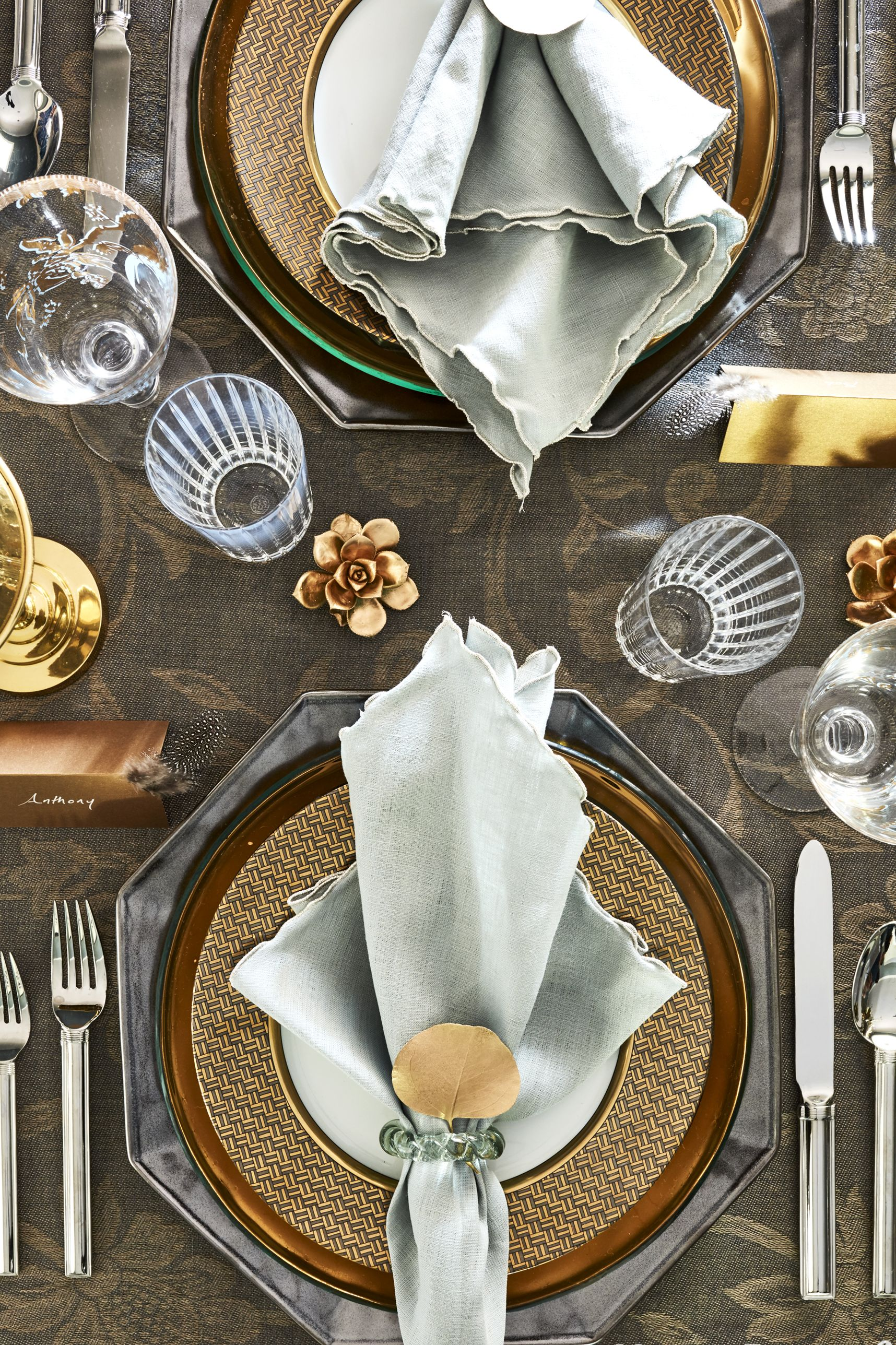 gold and silver holiday place setting