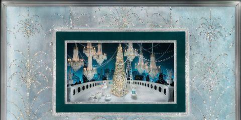 Blue, Teal, Aqua, Turquoise, Art, Christmas decoration, Rectangle, Creative arts, Visual arts, Christmas,