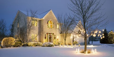 Winter, Branch, Property, Freezing, Home, Twig, Real estate, Residential area, Snow, House,