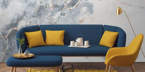 Yellow, Interior design, Furniture, Room, Couch, Wall, Living room, Interior design, Turquoise, Home,