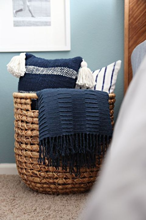 Wicker, Basket, Home accessories, Linens, Grey, Storage basket, Pillow, Interior design, Laundry basket, Cushion,
