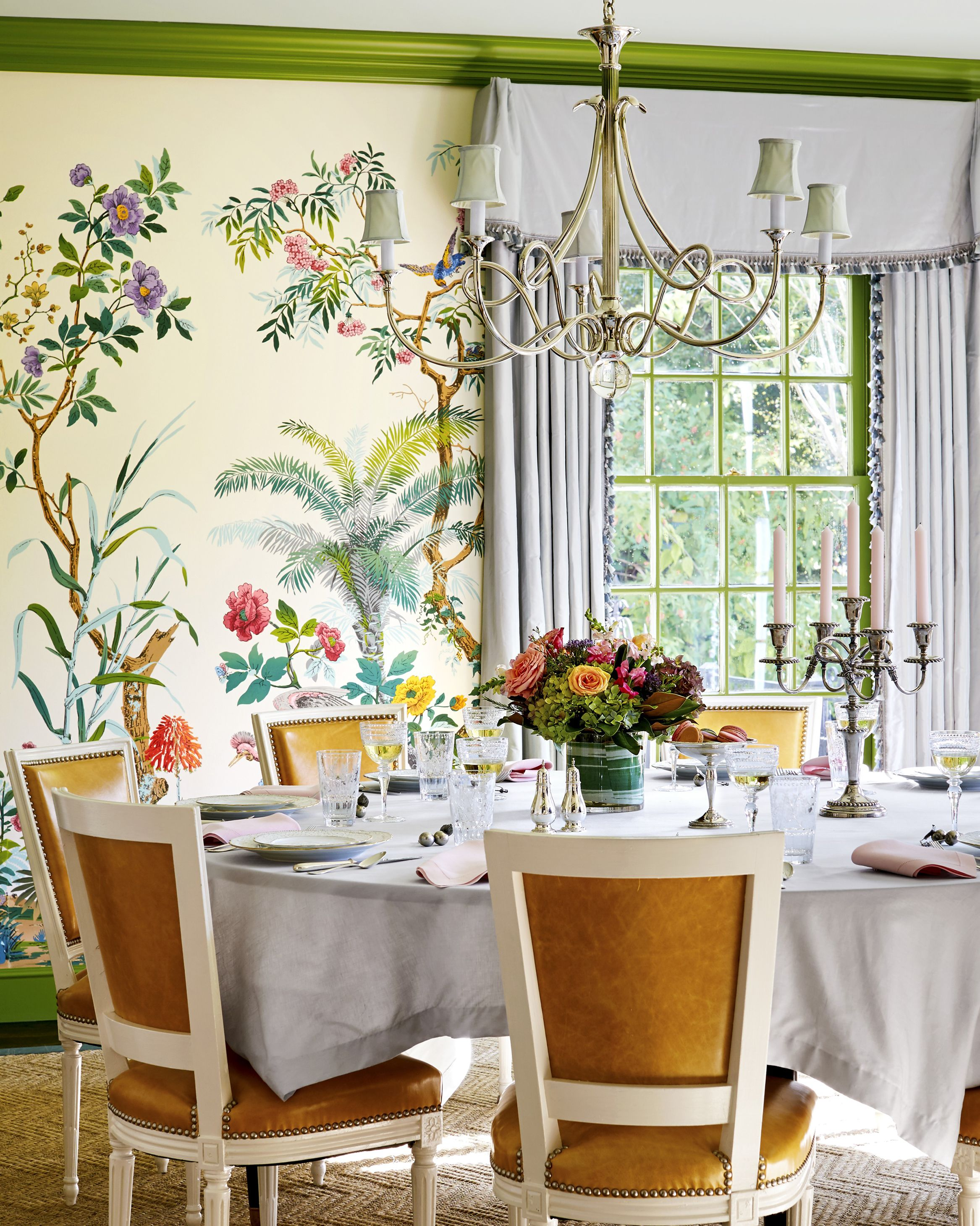 The dining room now bursts with high-octane design, from the Zuber wallpaper to the molding's Pantone shade of Piquant Green.