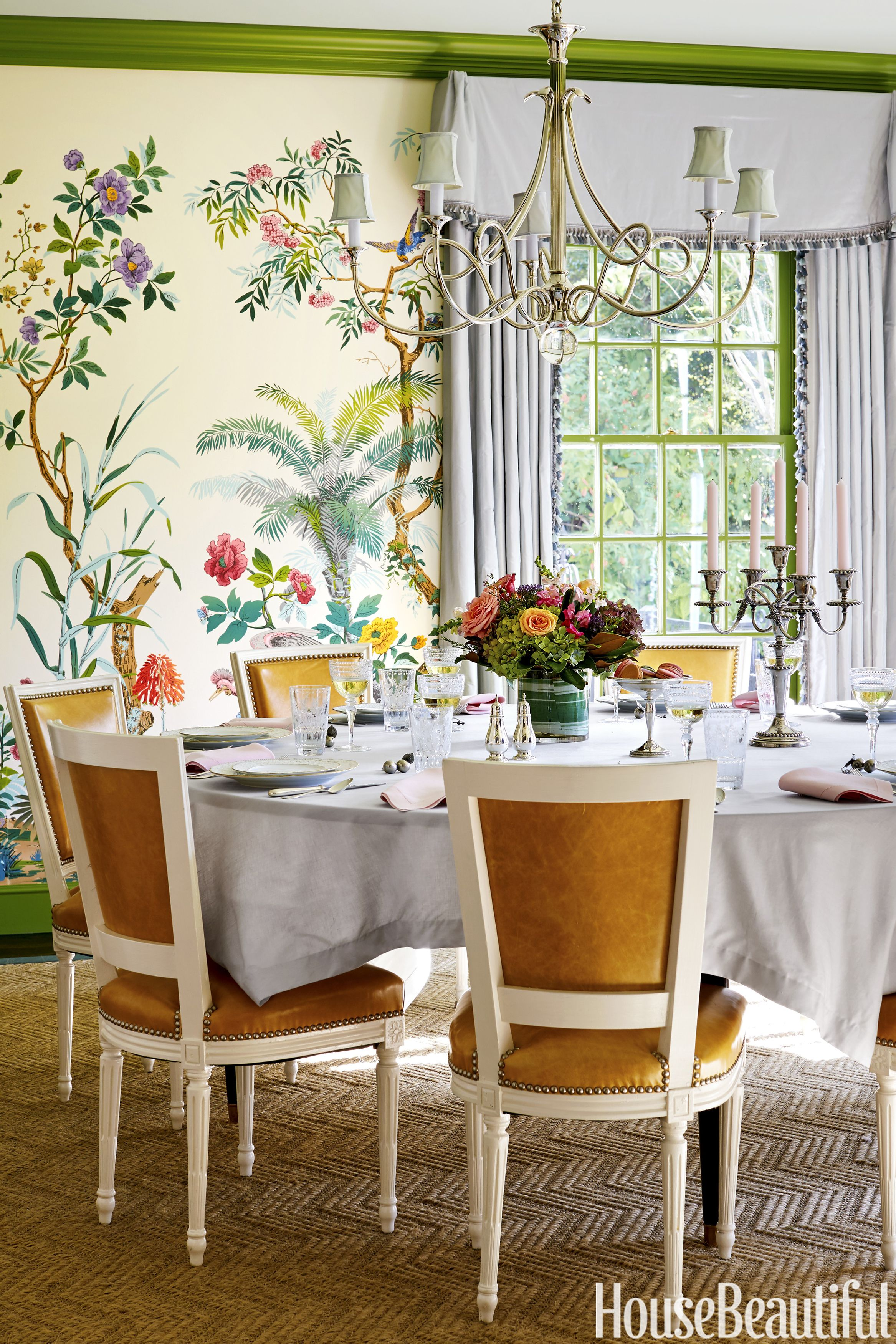 The Dining Room Now Bursts With High Octane Design, From The Zuber  Wallpaper To. House Beautiful
