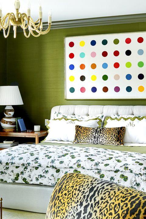 damien hirst print in bedroom
