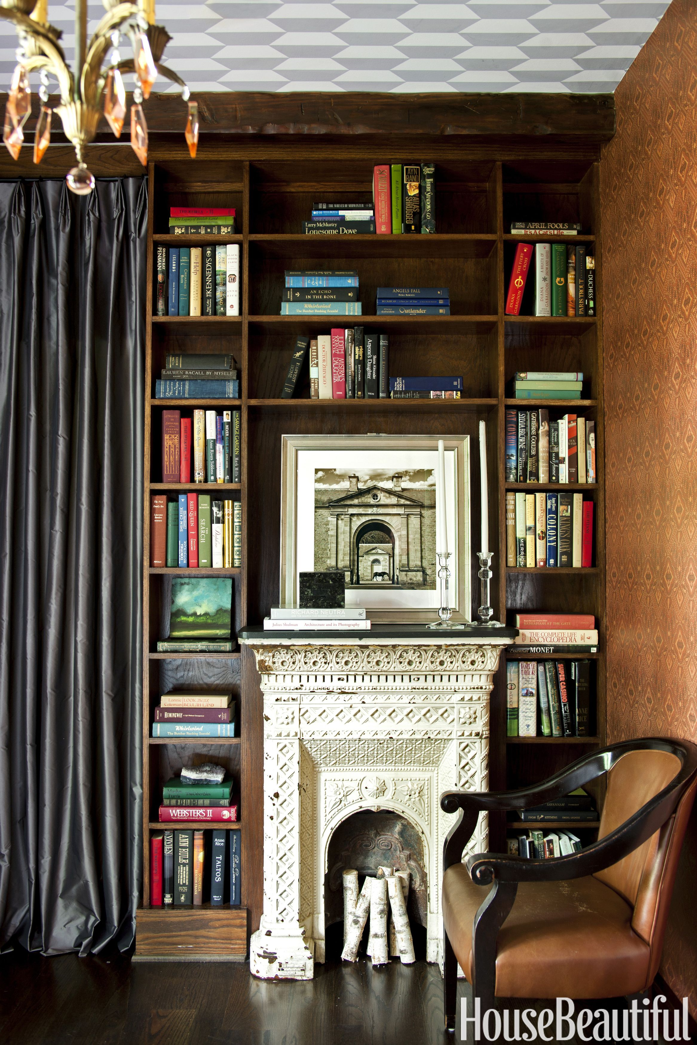 shon parker library fireplace & Home Library Design Ideas - Pictures of Home Library Decor