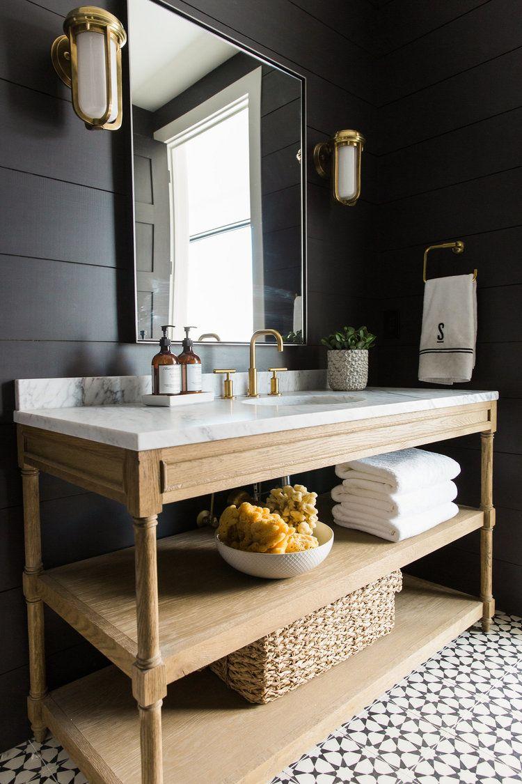 black shiplap bathroom