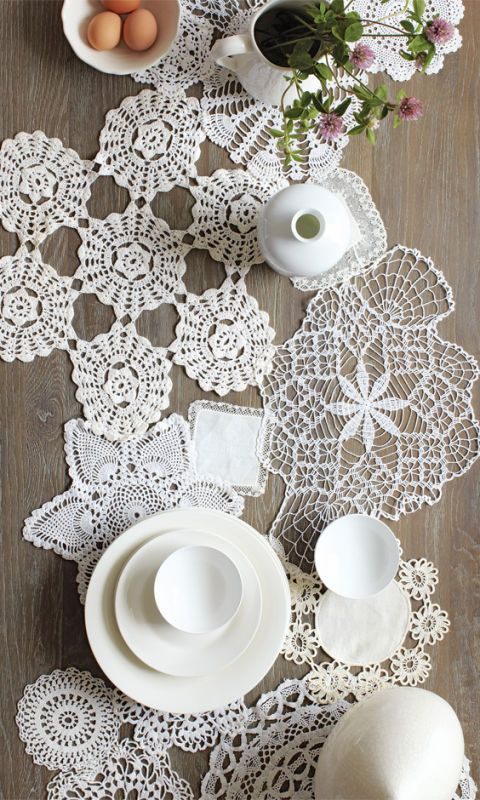 grandma decor doily table runner