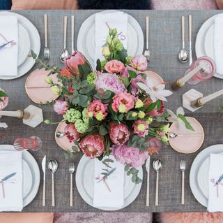 human, dishware, serveware, petal, pink, tablecloth, table, linens, tableware, bouquet,