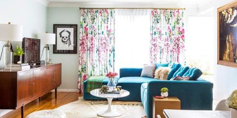 Blue, Room, Interior design, Green, Textile, Living room, Wall, Furniture, Home, Table,