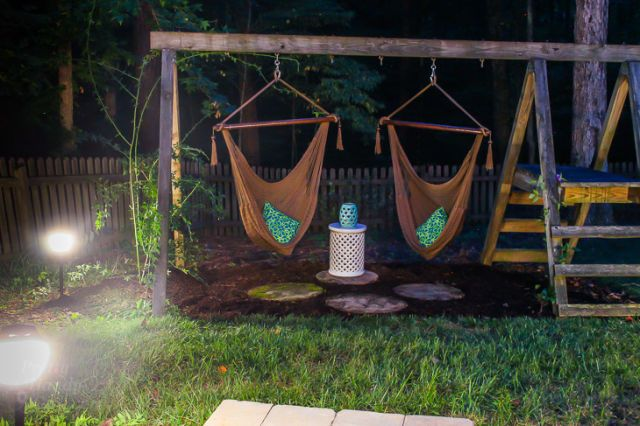 This Genius Mom Turned Her Kids' Old Swing Set Into a Lounge for Grown-Ups