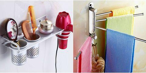 Shelf, Bathroom, Room, Shelving, Material property, Furniture, Linens, Bathroom accessory,