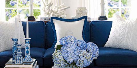 Blue, White, Cobalt blue, Room, Living room, Flower, Pillow, Furniture, Hydrangeaceae, Plant,