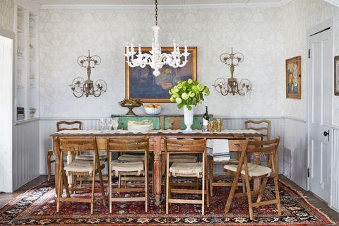 Room, Wood, Interior design, Floor, Table, Flooring, Furniture, Dining room, Chandelier, Interior design,