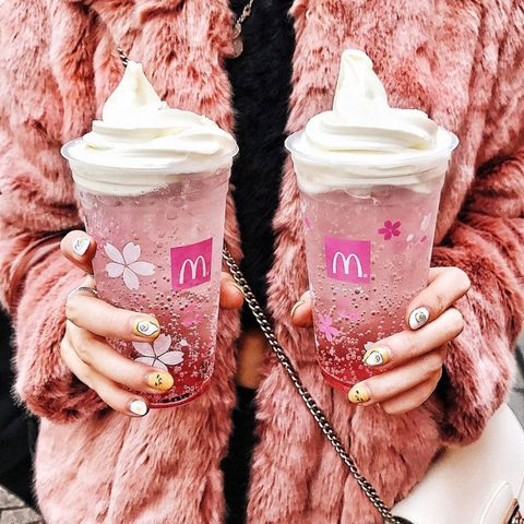 "<p>This <a href=""http://www.redbookmag.com/food-recipes/a49715/mcdonalds-cherry-blossom-drink/ "" target=""_blank"" data-tracking-id=""recirc-text-link"">limited-time</a> carbonated dream-in-a-cup from McDonald's use Satonishiki (cherry) juice and is topped with vanilla ice cream. If you're not into soft-serve, you can get&nbsp;the pink fizzy drink without the topping. The sad news is that the beverage is only available in Japan through April, but the good news is that now you have a reason to go to Japan...or just recreate this drink yourself.</p>"