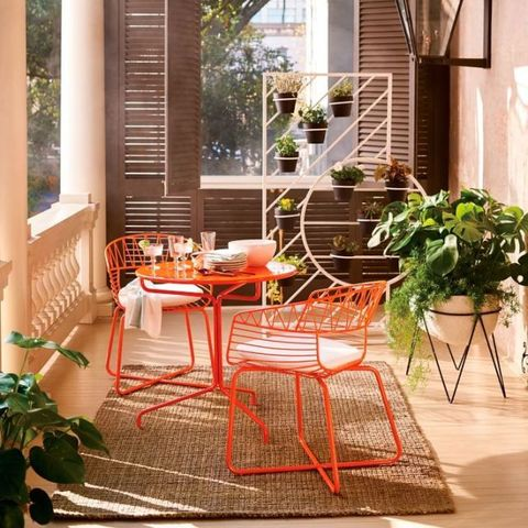 Table, Furniture, Orange, Room, Chair, Interior design, Home, Outdoor table, Porch, Balcony,